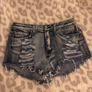 Hidden High Waisted Distressed Denim Shorts